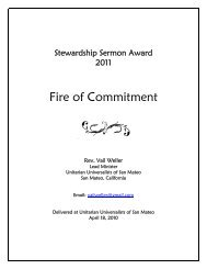 Stewardship Sermon Award - Unitarian Universalist Association