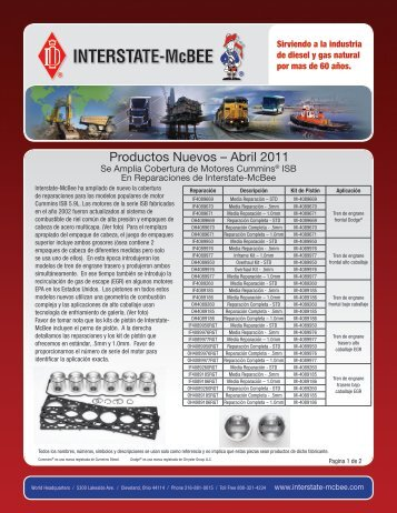 Productos Nuevos – Abril 2011 - Interstate McBee