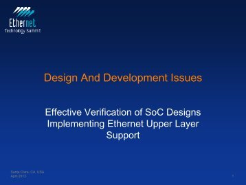 Design And Development Issues - Ethernet Technology Summit