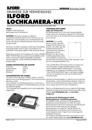 ILFORD LOCHKAMERA-KIT - the ILFORD PHOTO Website