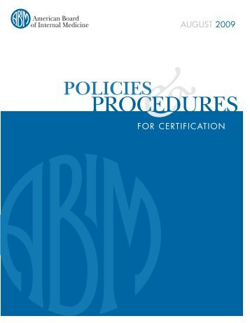Policies and Procedures for Certification - College of Medicine