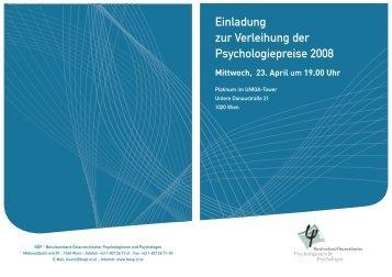 Einladung zur Verleihung der Psychologiepreise 2008