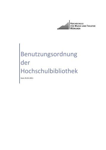 Benutzungsordnung der Hochschulbibliothek - Hochschule für ...