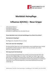 Merkblatt Heimpflege Influenza A(H1N1) – Neue Grippe