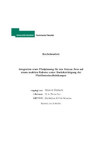Bachelorarbeit Integration einer Pfadplanung für den Katana Arm ...