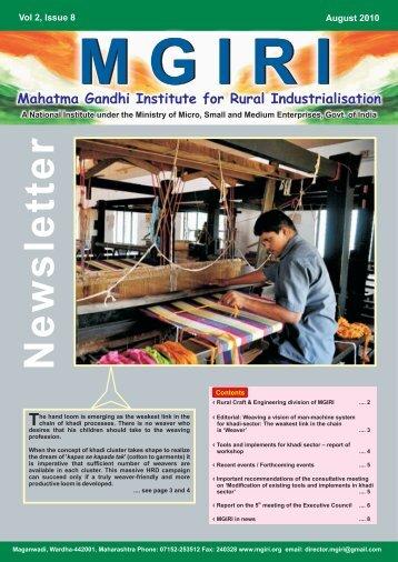 NewsLetter Aug 2010 - Mahatma Gandhi Institute for Rural ...