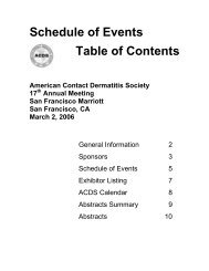 2006 Abstracts - American Contact Dermatitis Society