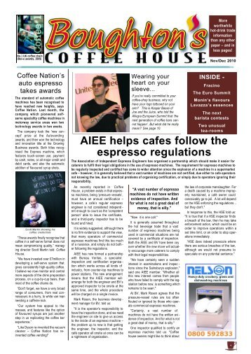 AIEE helps cafes follow the espresso regulations - Boughton's ...