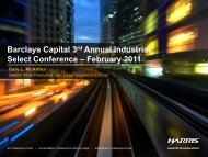 Barclays Capital 3rd Annual Industrial Select Conference – February ...