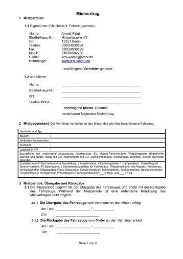 Muster Mietvertrag Stellplatz - Autohaus Arkona