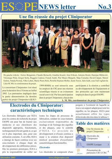 NEWS letter No.3 Une fin réussie du projet Cliniporator