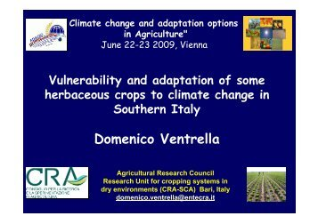 Vulnerability and adaptation of some herbaceous crops to ... - adagio