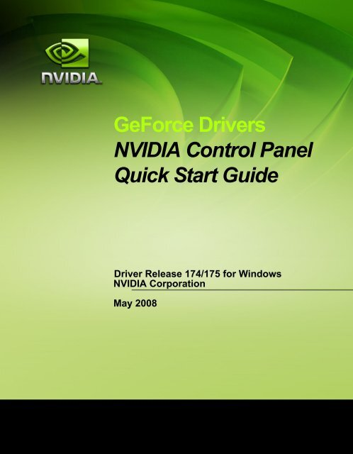 GeForce Drivers NVIDIA Control Panel Quick Start Guide