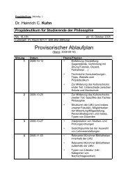 Provisorischer Ablaufplan