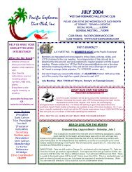 JULY 2004 Pacific Explorers Dive Club, Inc.