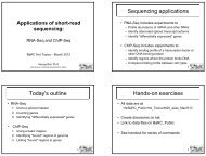 Sequencing applications Today's outline Hands-on exercises