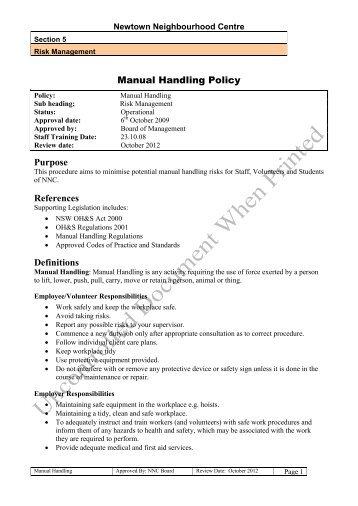Manual Handling Policy - Newtown Neighbourhood Centre