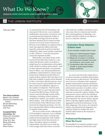 A research paper from the Urban Institute on effective math and ...