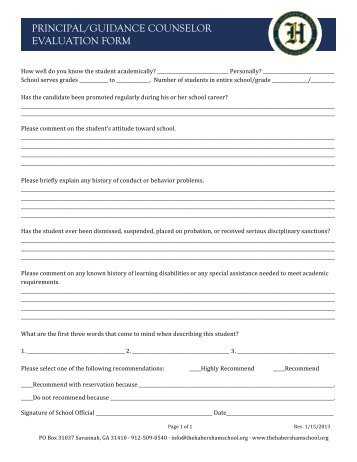 Guidance Counselor Evaluation Form  The Habersham