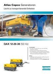 QAX 12-20-30 (50 Hz) Atlas Copco Generatoren  - Lutz Bauwerkzeuge