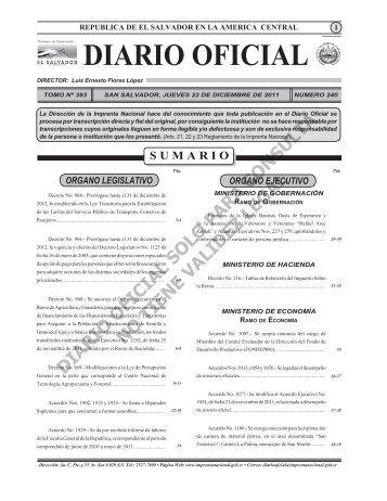 Diario Oficial de la República de El Salvador