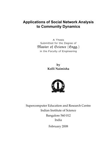 Applications of Social Network Analysis to Community Dynamics ...