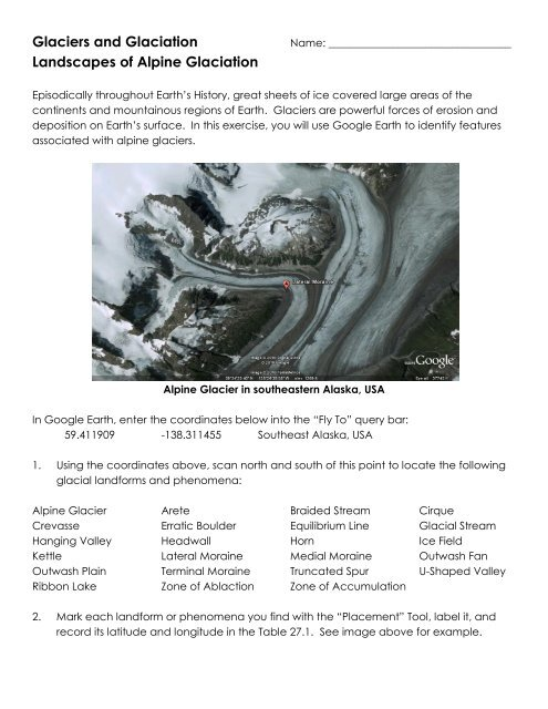 Alpine Glacial Landforms Google Earth Lab pdf - EnvGeology