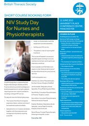 NIV Study Day for Nurses and Physiotherapists - British Thoracic ...