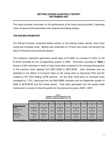 Betting Sector Quarter Report September 2007