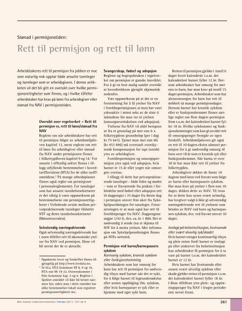 Rett til permisjon og rett til lønn - Den norske tannlegeforenings ...