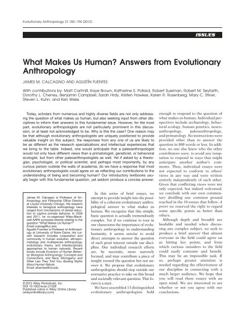 What makes us human? Answers from     - University of Utah