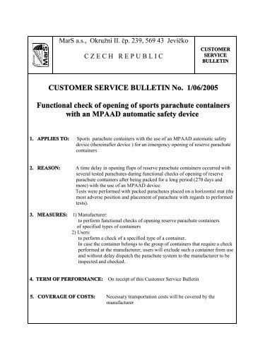 CUSTOMER SERVICE BULLETIN No. 1/06/2005 ... - MarS as