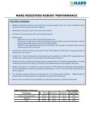 Q3, 2010-11 MARG Registers Robust Performance - MARG Group