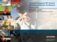 Cowen & Company 30th Annual Aerospace/Defense Conference