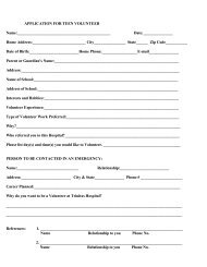 APPLICATION FOR TEEN VOLUNTEER Name ... - Trinitas Hospital