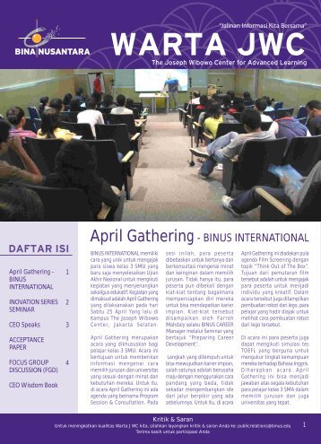 April Gathering- BINUS INTERNATIONAL - binus university
