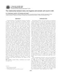 The relationship between dairy cow hygiene and somatic ... - ETCO