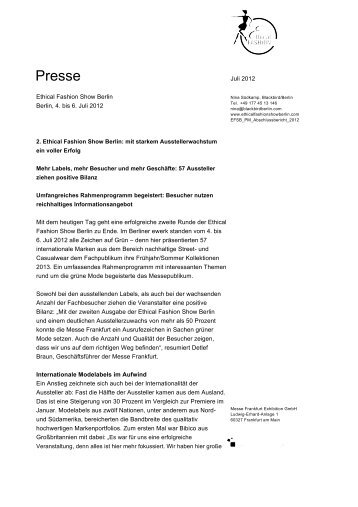 Presse - Ethical Fashion Show Berlin