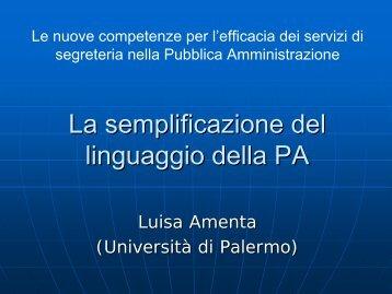 181. amenta_semplificazione amministrativa - Università di Palermo