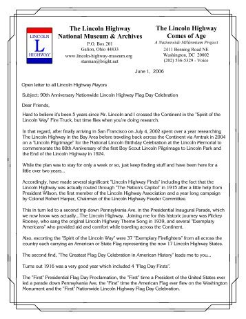 Flag Day Packet to the Mayors - The Lincoln Highway National ...