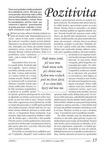 Pozitivita - Listy Bdelosť