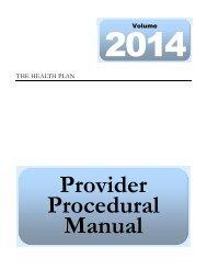 Provider Procedural Manual - The Health Plan