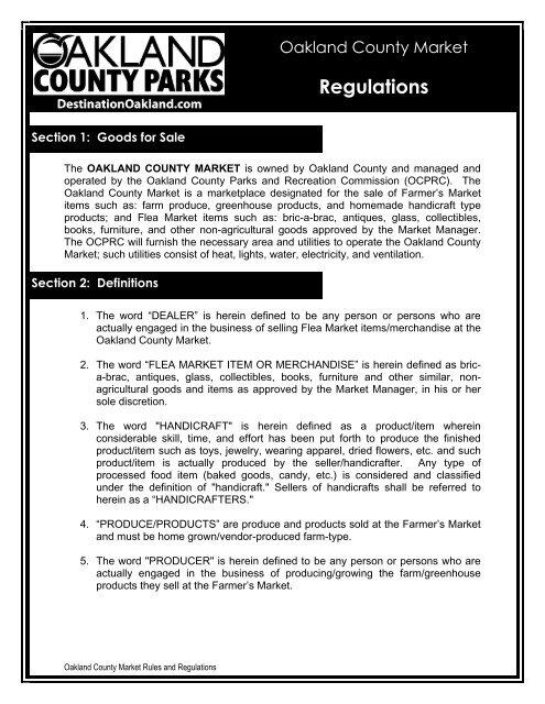 Rules and Regulations - Destination Oakland