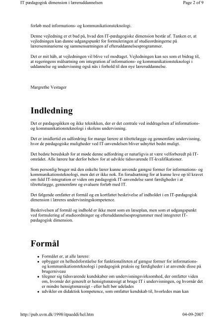 IT pædagogisk dimension i læreruddannelsen Indhold ...