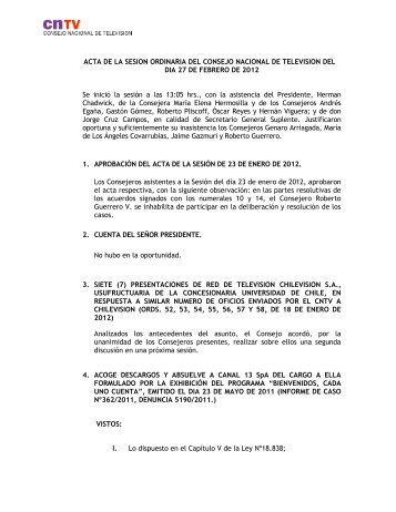 ACTA DE LA SESION ORDINARIA DEL CONSEJO ... - CNTV