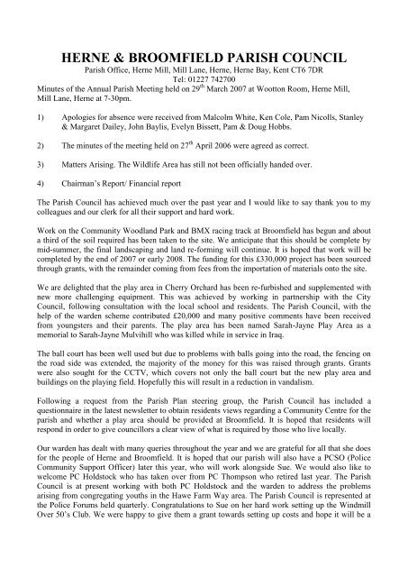 Annual Parish Meeting Minutes 29 March 2007.pdf - Herne ...