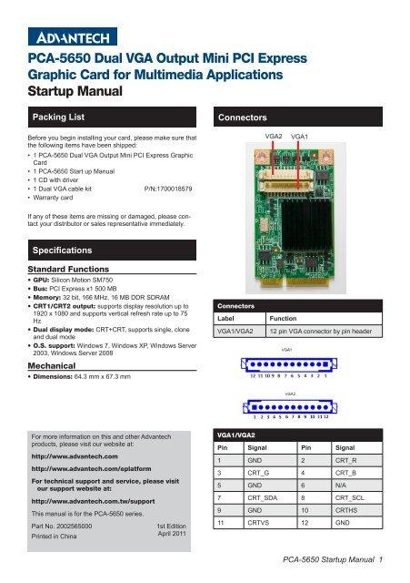PCA-5650 Dual VGA Output Mini PCI Express Graphic Card for