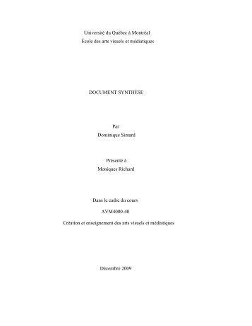 Université du Québec à Montréal École des arts visuels et ...