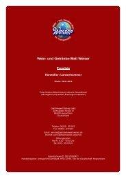Preisliste für Hersteller: Lantenhammer - und Getränke-Welt Weiser