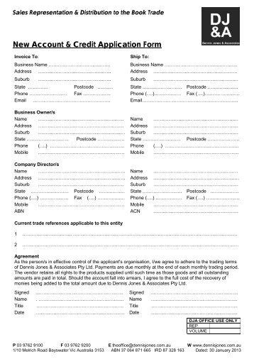 New Account & Credit Application Form - Dennis Jones & Associates
